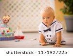 little toddler boy  dressed as... | Shutterstock . vector #1171927225