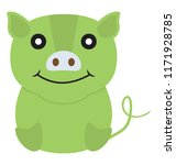 a funny fat pig icon  | Shutterstock .eps vector #1171928785