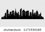 silhouette of city with black... | Shutterstock .eps vector #1171934185