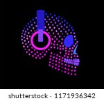 sugar skull with headphones... | Shutterstock .eps vector #1171936342