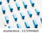 blue capsule pills blister pack | Shutterstock . vector #1171944865