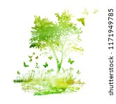 Summer Abstract Watercolor Tre...