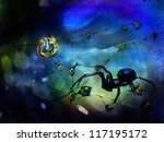 Surreal science fiction scene with a giant spider in a web with a colorful background. - stock photo