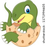 cartoon funny dinosaur hatching | Shutterstock . vector #1171994605