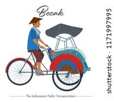 becak  the traditional vehicle... | Shutterstock .eps vector #1171997995