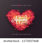autumn leaves heart shape... | Shutterstock .eps vector #1172027668