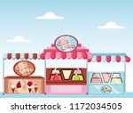 ice cream kiosk and showcase | Shutterstock .eps vector #1172034505