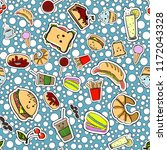 seamless pattern with fast food ... | Shutterstock .eps vector #1172043328