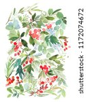 christmas watercolor... | Shutterstock . vector #1172074672