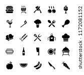 barbeque grill glyph icons set ... | Shutterstock .eps vector #1172081152