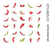chili pepper flat icons   | Shutterstock .eps vector #1172087122