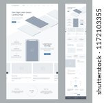 Stock vector one page website design template for business landing page wireframe flat modern responsive 1172103355