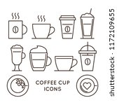 coffee and tea cups linear... | Shutterstock .eps vector #1172109655