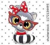 cute cartoon raccoon with red... | Shutterstock .eps vector #1172134495
