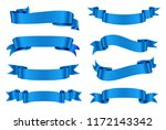 ribbon banner set.vector blue... | Shutterstock .eps vector #1172143342