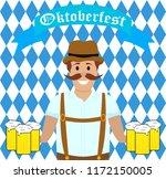 hilarious drunk man with mugs... | Shutterstock . vector #1172150005