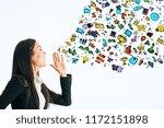 happy businesswoman on light... | Shutterstock . vector #1172151898