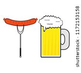 sausage and a mug of beer on a... | Shutterstock . vector #1172153158