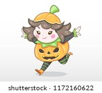 cute style girl in halloween... | Shutterstock .eps vector #1172160622