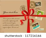 christmas gift with vintage... | Shutterstock .eps vector #117216166