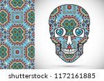 day of the dead colorful sugar... | Shutterstock .eps vector #1172161885
