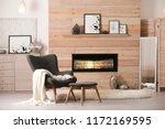 cozy living room interior with... | Shutterstock . vector #1172169595