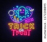 halloween neon sign vector.... | Shutterstock .eps vector #1172208895