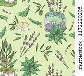 seamless pattern with handmade... | Shutterstock .eps vector #1172220205