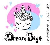 unicorn head with hand written... | Shutterstock .eps vector #1172221345