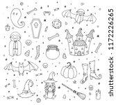 vector halloween set with... | Shutterstock .eps vector #1172226265