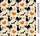 black cat and halloween symbols ... | Shutterstock .eps vector #1172240398
