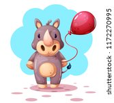 funny  cute cartoon rhino... | Shutterstock .eps vector #1172270995