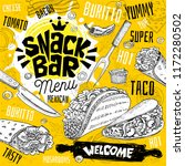 snack bar cafe restaurant menu. ... | Shutterstock .eps vector #1172280502