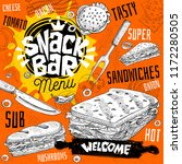 snack bar cafe restaurant menu. ... | Shutterstock .eps vector #1172280505