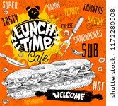 lunch time cafe restaurant menu.... | Shutterstock .eps vector #1172280508