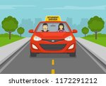 terrified instructor sitting in ... | Shutterstock .eps vector #1172291212
