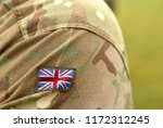 uk patch flag on soldiers arm.... | Shutterstock . vector #1172312245