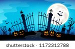 cemetery gate silhouette theme... | Shutterstock .eps vector #1172312788
