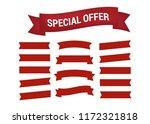 glossy red ribbon vector.... | Shutterstock .eps vector #1172321818
