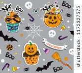 happy halloween pumpkin with... | Shutterstock .eps vector #1172327575