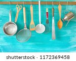 kitchen utensils  cooking ... | Shutterstock . vector #1172369458