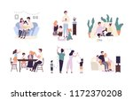family members spending time... | Shutterstock . vector #1172370208