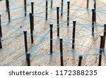 nails stuck in a wooden board... | Shutterstock . vector #1172388235