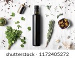 oil vinegar bottle mockup on... | Shutterstock . vector #1172405272