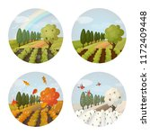 set of isolated panorama view...   Shutterstock .eps vector #1172409448