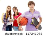 happy guy with ball and... | Shutterstock . vector #117241096