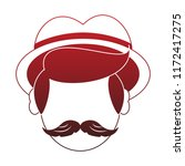 irish man head with mustache... | Shutterstock .eps vector #1172417275