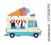 ice cream truck and man | Shutterstock .eps vector #1172428702