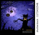halloween scary night square... | Shutterstock .eps vector #1172432548