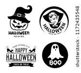 happy halloween black and white ... | Shutterstock .eps vector #1172435548